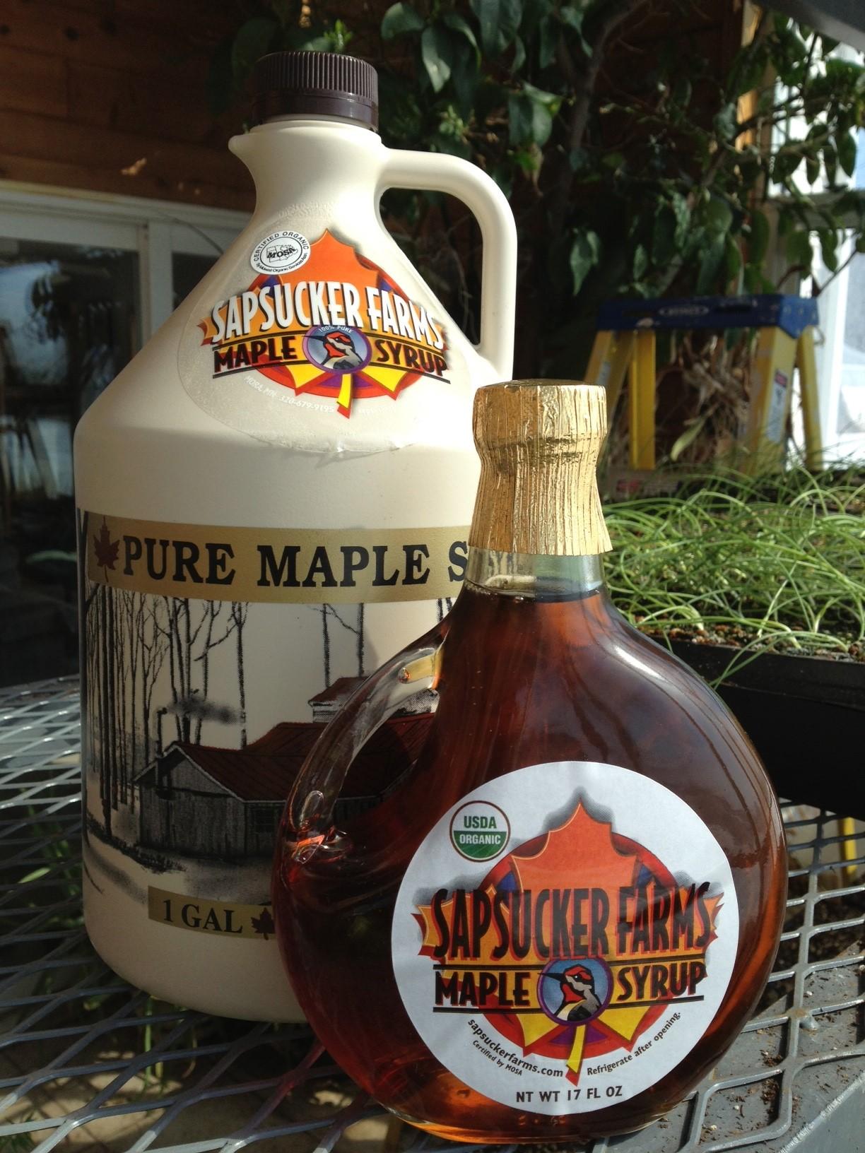 sapsucker maple syrup bottles