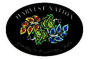 Harvest Nation logo. Black with plant leaves intertwined and the phrase farming locally, caring globally