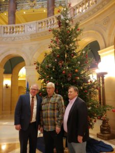 2019 Christmas Tree State Capitol Rotunda with Governor Walz, Ken Olson, and Commissioner Peterson