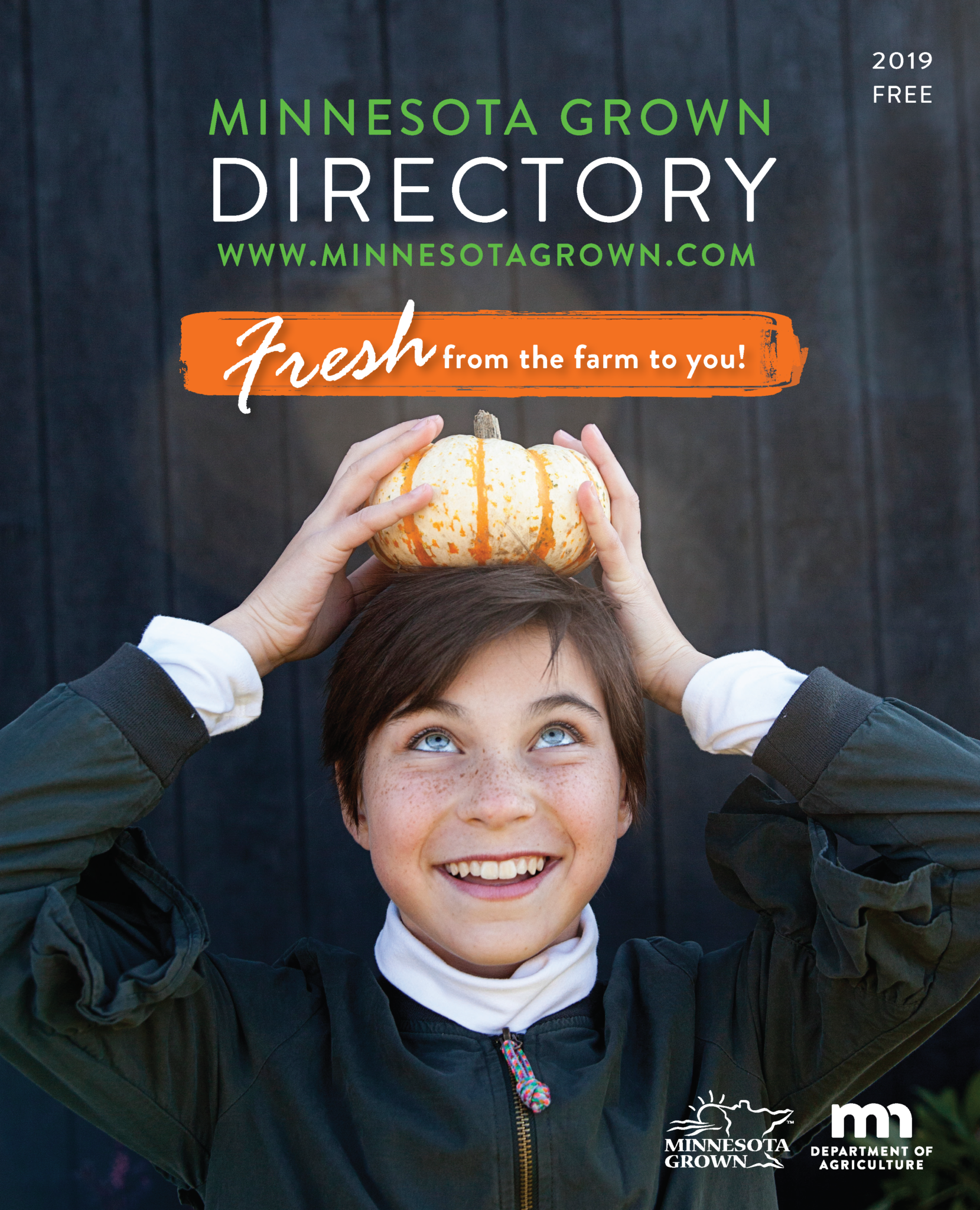 Minnesota Grown Directory cover image showing a girl with a small gourd on her head