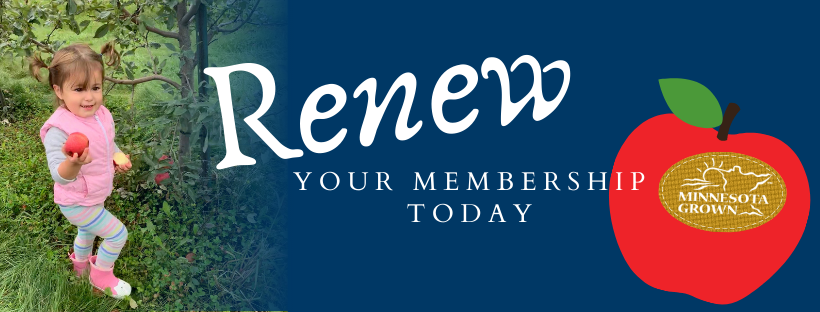 Renew your membership with photo of child holding an apple.