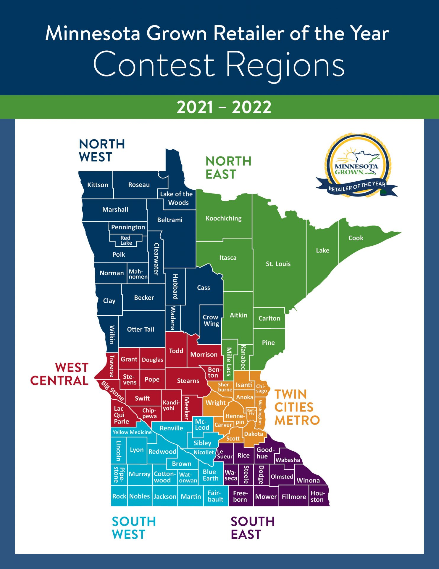 MN Grown Retailer of the Year Contest Regions MAP 2021-2022