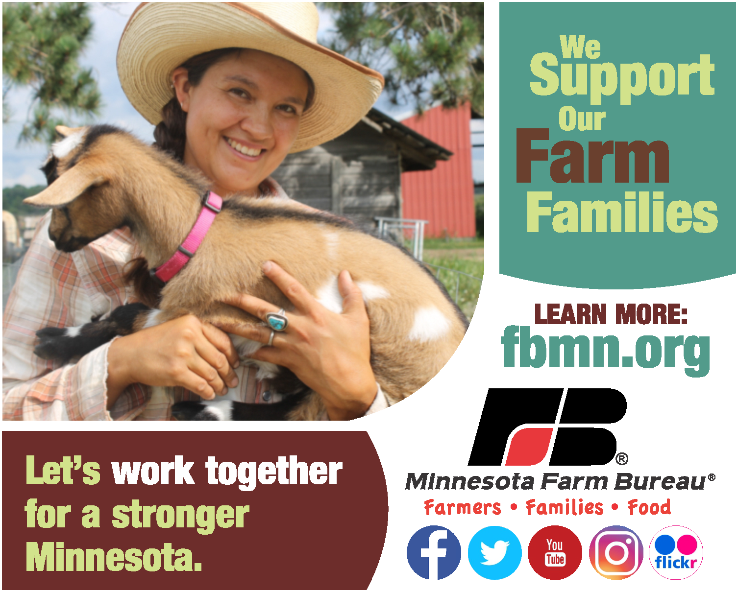 Image of girl holding a goat. Text says We support our farm families and let